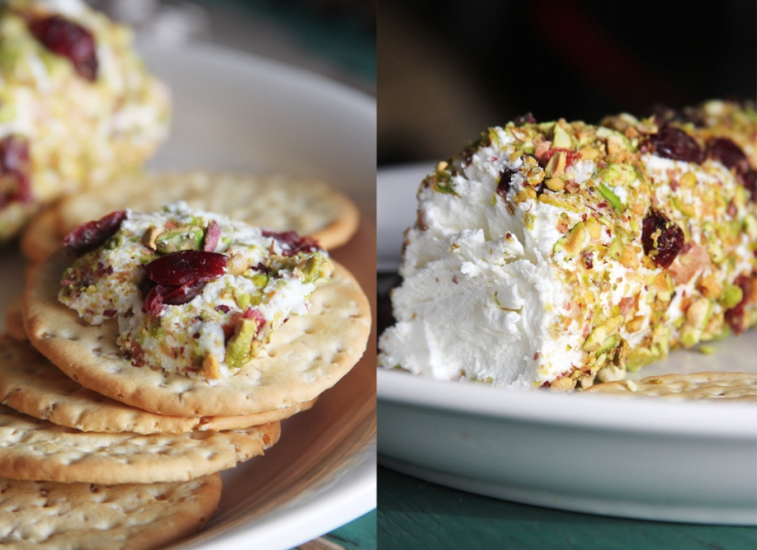 Goat cheese with cranberries and pistachios