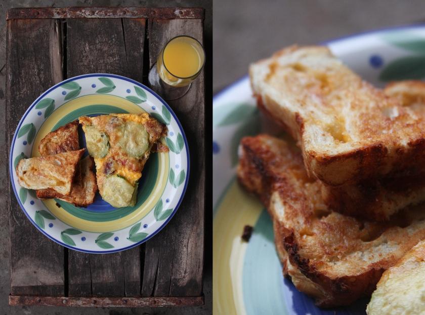 Frittata and cheddar toast